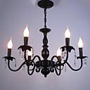 baratos Estilo Vela-6-luz Lustres Luz Ambiente Preto Metal Cristal, Estilo Vela 110-120V / 220-240V / E12 / E14