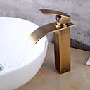 olcso Fürdőszobai kagyló csaptelep-Fürdőszoba mosogató csaptelep - Vízesés Antik réz Három lyukas Egy fogantyú egy lyukkalBath Taps