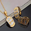 billiga Modeörhängen-Dam Brud Smyckeset Vintage Euramerikansk Guldpläterad örhängen Smycken Guld Till Party Fest Vardag