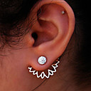 povoljno Modne naušnice-Žene Sitne naušnice Naušnice sprijeda i straga Magic Back Earring Cvijet jeftino dame Moda Euramerican Small Naušnice Jewelry Zlato / Pink Za Party