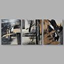 baratos Pinturas Abstratas-Pintura a Óleo Pintados à mão - Abstrato Artistíco Incluir moldura interna / 3 Painéis / Lona esticada