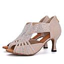 ราคาถูก ผ้าคลุมสำหรับชุดแต่งงาน-สำหรับผู้หญิง รองเท้าเต้นรำ ผ้ายืดหยุ่น ลาติน / Salsa หินประกาย / หัวเข็มขัด รองเท้าแตะ / ส้น ส้นป้าน สีชมพู / สีดำ / สีขาว / ขาวและเงิน / Performance / หนังสัตว์ / EU39