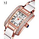 ราคาถูก วิกผมสังเคราะห์-ASJ สำหรับผู้หญิง นาฬิกาหรู นาฬิกาข้อมือ นาฬิกาเพชร ญี่ปุ่น นาฬิกาอิเล็กทรอนิกส์ (Quartz) เซรามิก เงิน / Rose Gold 30 m กันน้ำ Creative ระบบอนาล็อก สุภาพสตรี วิบวับ - สีเงิน Rose Gold / หนึ่งปี