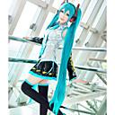 billiga Kostymperuk-Vocaloid Hatsune Miku Cosplay-peruker Dam 48 tum Värmebeständigt Fiber Svart Mörkgrön Gul Animé / Peruk / Peruk
