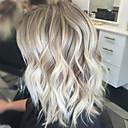 billiga Utan lock-Mänskligt hår Peruk Vågigt Vågigt Nyans Maskingjord Svart / Grå