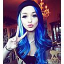 povoljno Sintetičke perike s čipkom-Prednja perika od sintetičkog čipke Wavy Stil Lace Front Perika Navy Plava Sintentička kosa Žene Prirodna linija za kosu Plava Perika Dug Uniwigs