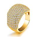 ราคาถูก ชุดโต๊ะกลาง-สำหรับผู้หญิง วงแหวน Cubic Zirconia เพชรจิ๋ว สีทอง เพทาย ทองชุบ รูปร่างวงกลม เครื่องประดับชิ้นใหญ่ สุภาพสตรี ความหรูหรา ปาร์ตี้ วันเกิด เครื่องประดับ