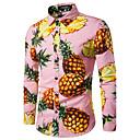 billige Skjorter-Bomull Skjorte Herre - Frukt, Trykt mønster Arbeid Ananas Rosa / Langermet / Høst