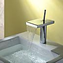 billiga Tvättställsblandare-Badrum Tvättställ Kran - Vattenfall Krom Centerset Singel Handtag Ett hål / Mässing