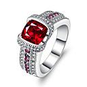 ราคาถูก แหวน-สำหรับผู้หญิง วงแหวน Cubic Zirconia สังเคราะห์ทับทิม แดง Silver รูปร่างวงกลม ความหรูหรา วินเทจ งานแต่งงาน การหมั้น เครื่องประดับ