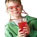 זול כלי שתייה-2pcs משקפיים עיצוב קש מצחיק משקפיים רך קש ייחודי גמיש שתייה צינור ילדים פלסטיק צבעוני שתייה די כפות בר accesso (צבע אקראי)