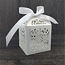povoljno Svadbene svijeće-Krug / Kvadrat / Kubni Pearl papira Naklonost Holder s Uzde / Printing Milost Kutije - 50