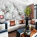 ราคาถูก ภาพจิตรกรรมฝาผนัง-สีขาวดอกโบตั๋นที่กำหนดเอง 3 มิติขนาดใหญ่กำแพงครอบคลุมภาพจิตรกรรมฝาผนังพอดีกับห้องนอนห้องกาแฟโรงแรม