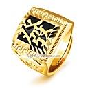 billiga Syntetiska peruker utan hätta-Herr Bandring Signetring Guld Guldpläterad Cirkel Form Statement Lyx Klassisk Bröllop Party Smycken