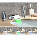 ราคาถูก ก๊อกอ่างอาบน้ำ-ก๊อกอ่างอาบน้ำ - เปลี่ยนสี / ศิลปะ มีสี กระจาย Ceramic Valve Bath Shower Mixer Taps / Brass / จับเดี่ยวสามหลุม