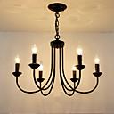 billige Stearinlysdesign-6-Light Candle-stil Lysekroner Omgivelseslys Malte Finishes Metall Stearinlys Stil 110-120V / 220-240V / E12 / E14