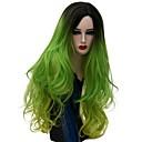 billiga Verktyg och tillbehör-Syntetiska peruker Naturligt vågigt Naturligt vågigt Peruk Lång Grön Syntetiskt hår Dam Ombre-hår Grön