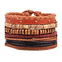 billiga Herrsmycken-Herr Pärlarmband Armband av Remmar Läder Armband Rep vävd Personlig Mode Trä Armband Smycken Brun Till Casual Scen Street Utekväll Nattklubb