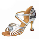 ราคาถูก รองเท้าเต้นโมเดิร์นและรองเท้าบัลเล่ต์-สำหรับผู้หญิง รองเท้าเต้นรำ ไหม / หนังเทียม ลาติน หัวเข็มขัด รองเท้าแตะ ส้นCuban ตัดเฉพาะได้ สีดำ / สีเงิน / สีน้ำตาล / Performance / หนังสัตว์ / EU39