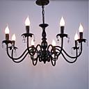 Χαμηλού Κόστους Σχέδιο στυλ κεριών-8-Light Πολυέλαιοι Ατμοσφαιρικός Φωτισμός Μαύρο Μέταλλο Κρυστάλλινο, κερί Style 110-120 V / 220-240 V / E12 / E14