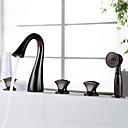Χαμηλού Κόστους Φώτα νησί-Βρύση Μπανιέρας - Πεπαλαιωμένο / Πολυτέλεια Λαδωμένο Μπρούντζινο Αναμεικτικές με ξεχωριστές βαλβίδες Βαλβίδα Ορείχαλκου Bath Shower Mixer Taps / Τρεις λαβές πέντε τρύπες
