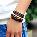 billige Smartwatch Bands-Herre Perlearmbånd Sjal Armbånd Lær Armbånd woven Personalisert Mote Tre Armbånd Smykker Brun Til Gate