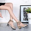 ราคาถูก รองเท้าบูตผู้หญิง-สำหรับผู้หญิง บูท ส้นหนา / Block Heel เปิดนิ้ว เย็บลูกไม้ Synthetics ความสะดวกสบาย ฤดูร้อน สีทอง / สีดำ / EU40