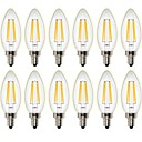 Χαμηλού Κόστους Λάμπες Σφαίρα LED-12PCS 4 W 400 lm LED Λάμπες Πυράκτωσης C35 4 leds COB Με ροοστάτη Διακοσμητικό Θερμό Λευκό AC 220-240 AC 110-130 V