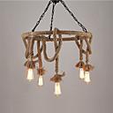 billiga Ljusdesign-vintage industriella hamp rep hängande lampa med 6-ljus ljuskrona vardagsrum matsal ljusarmatur