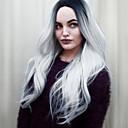 billige avstressere-Syntetiske parykker Bølget Bølget Parykk Nyanse Medium Lengde Sort / Grå Syntetisk hår Dame Ombre-hår Midtskill Nyanse