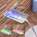 ราคาถูก ของประดับตกแต่งงานแต่งงาน-ก๊อกน้ำอ่างล้างจานห้องน้ำ - น้ำตก / LED Nickel Brushed ติดผนัง จับเดี่ยวสองหลุมBath Taps