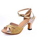 Χαμηλού Κόστους Παπούτσια χορού λάτιν-Γυναικεία Παπούτσια Χορού Με πούλιες Παπούτσια χορού λάτιν Αγκράφα Πέδιλα Κοντόχοντρο Τακούνι Ασημί / Κόκκινο / Μπλε / Εσωτερικό / Δέρμα / EU36