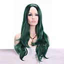 billiga USB-Syntetiska peruker Vågigt Vågigt Peruk Mellan Grön Syntetiskt hår Afro-amerikansk peruk Grön