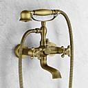 billiga Tvättställsblandare-Badkarskran - Antik Antik mässing Badkar och dusch Keramisk Ventil Bath Shower Mixer Taps / Två handtag två hål