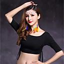 ราคาถูก ชุดเต้นระบำหน้าท้อง-ชุดเต้นระบำหน้าท้อง เสื้อ สำหรับผู้หญิง Performance Modal จับย่น ครึ่งแขน ธรรมชาติ Top