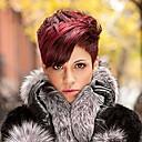 ราคาถูก วิกผมสังเคราะห์-วิกผมสังเคราะห์ ลอนใหญ่ ลอนใหญ่ บ๊อบตัดผม กับ Bangs ผมปลอม Short Red สังเคราะห์ สำหรับผู้หญิง ส่วนด้านข้าง แดง StrongBeauty
