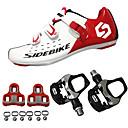 ราคาถูก เครื่องนวดไฟฟ้า-SIDEBIKE ผู้ใหญ่ Cycling Shoes With Pedal & Cleat Road Bike Shoes Carbon Fiber Cushioning จักรยาน แดงและขาว สำหรับผู้ชาย รองเท้าขี่จักรยาน / ตาข่ายระบายอากาศ