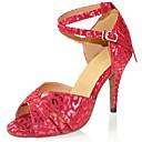 ราคาถูก รองเท้าแบบลาติน-สำหรับผู้หญิง รองเท้าเต้นรำ หนังเทียม ลาติน หัวเข็มขัด รองเท้าแตะ / ส้น ส้นแบบกำหนดเอง ตัดเฉพาะได้ สีเงิน / แดง / หนังสัตว์ / มืออาชีพ