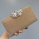 billige Clutch- og aftenvesker-Dame Krystalldetaljer Kunstlær Aftenveske Rhinestone Crystal Evening Bags Svart / Gull / Sølv