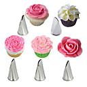 baratos Artigos de Forno-5 pcs rosa pétala dicas de creme de aço inoxidável bolo icing piping bicos queque ferramentas de decoração de pastelaria