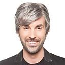 billiga Tupéer-Syntetiska peruker Rak Rak Peruk Korta Grå Syntetiskt hår Herr Grå StrongBeauty