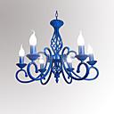 저렴한 샹들리에-6 등 양초 스타일 샹들리에 엠비언트 라이트 Painted Finishes 금속 촛불 스타일 110-120V / 220-240V / E12 / E14