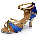 ราคาถูก รองเท้าแบบลาติน-สำหรับผู้หญิง รองเท้าเต้นรำ ไหม ลาติน ส้น ส้นสูง ตัดเฉพาะได้ สีน้ำตาล / แดง / ฟ้า / ในที่ร่ม / EU40