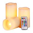 ราคาถูก ไฟตกแต่ง-1set เทียนไร้ตำหนิ แบตเตอรี่ ควบคุมจากระยะไกล / ตกแต่ง / เปลี่ยนสีได้ ลักษณะของเทียน / นาฬิกา LED