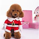 billiga Pet jul kostymer-Hund Dräkter / Kostymer Jumpsuits Vinter Hundkläder Röd Kostym Plysch Färgblock Jul XS S M L XL