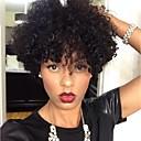 Χαμηλού Κόστους Συνθετικές περούκες χωρίς σκουφί-Συνθετικές Περούκες Σγουρά Kinky Curly Kinky Σγουρό Σγουρά Περούκα Κοντό Μαύρο Συνθετικά μαλλιά Γυναικεία Περούκα αφροαμερικανικό στυλ Για μαύρες γυναίκες Μαύρο