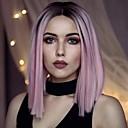 povoljno Sintetičke perike s čipkom-Prednja perika od sintetičkog čipke Ravan kroj Stil Lace Front Perika Pink Pink + Red Sintentička kosa Žene Srednji dio Ombre Pink Perika Kratko Uniwigs