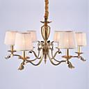 billige Stearinlysdesign-6-Light Lysekroner Omgivelseslys Olje-gnidd Bronse Metall Stof Mini Stil 110-120V / 220-240V / E12 / E14