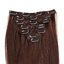 billiga Håraccessoarer-Febay Klämma in Människohår förlängningar Rak Remy-hår Hårförlängningar av äkta hår Nano Dam Medium Brun / Blekt Blont