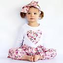 Χαμηλού Κόστους Σετ ρούχων για κορίτσια-Νήπιο Κοριτσίστικα Λουλουδάτο Επίσημο ρούχο Φλοράλ Κέντημα Στάμπα Μακρυμάνικο Κανονικό Κανονικό Βαμβάκι Σετ Ρούχων Ανθισμένο Ροζ